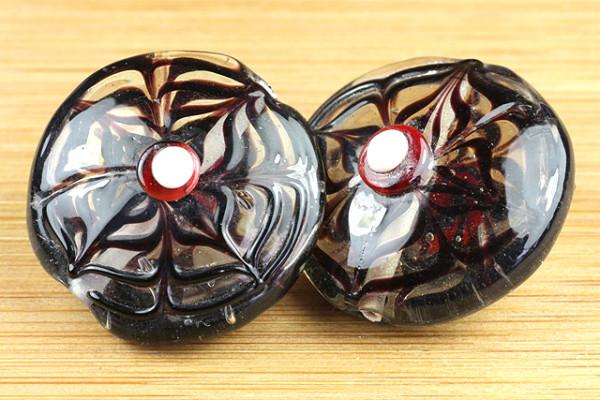 Lampenperle, Taler, schwarze Blüten, 27mm