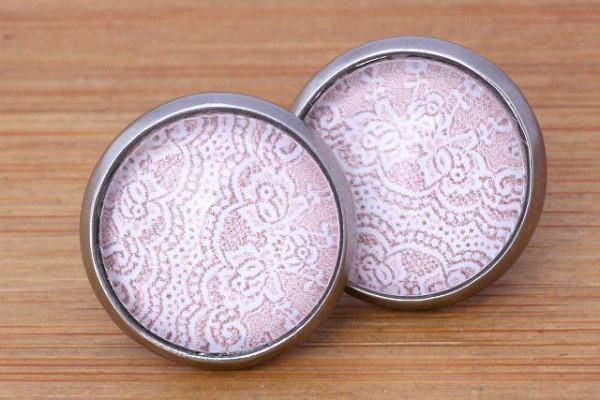 Cabochon Ohrstecker, Spitzen, rosa/weiß, Edelstahl, 12mm