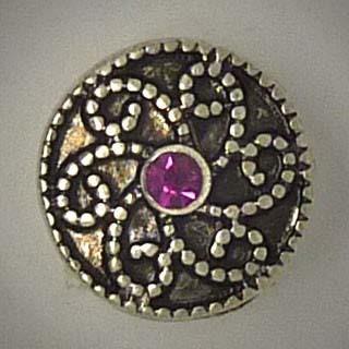 Mini Druckknopf, Ranken, fuchsia Strass mittig, ca. 13mm