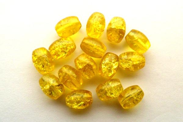 Glasperlen mit Crash-Effekt, Oliven, gelb, 11x8mm