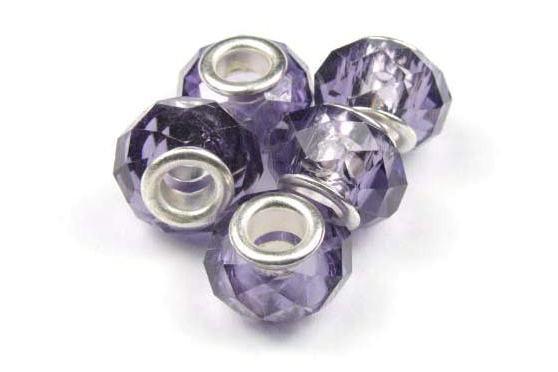 Modulperlen, lila, facettiertes Kristallglas, 14x9mm