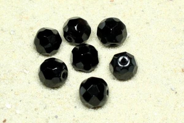 Glasschliffperlen, 32fach facettiert, schwarz, 6mm