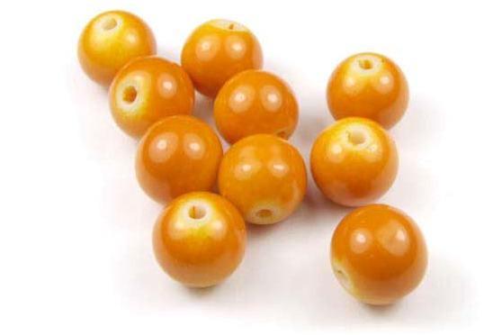Glasperlen, opak soft orange, 10mm