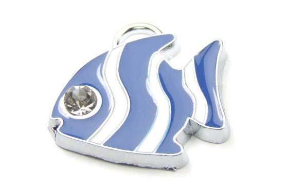 Anhänger, Fisch mit Emaille und Strass, blau-weiß, 19mm