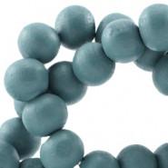 Holzperlen, rund, petrol blau, 8mm
