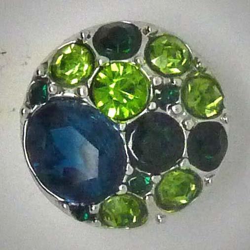 Click-Button, grüner Strass, ca. 20mm