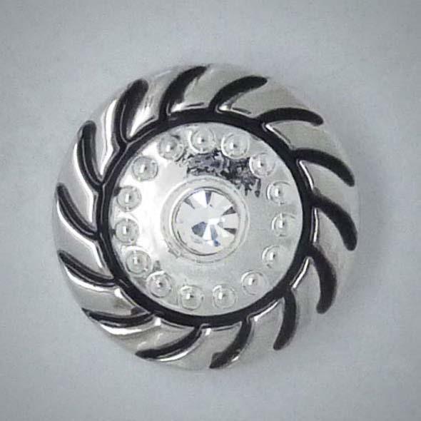 Click-Button, transparenter Strass mittig, 20mm