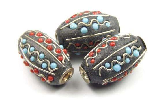 Kashmiri Perle, Olive, schwarz, 22x13mm