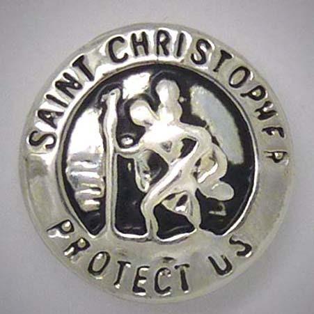 Druckknopf, Sankt Christophorus, Aufschrift, silberfarben, 20mm