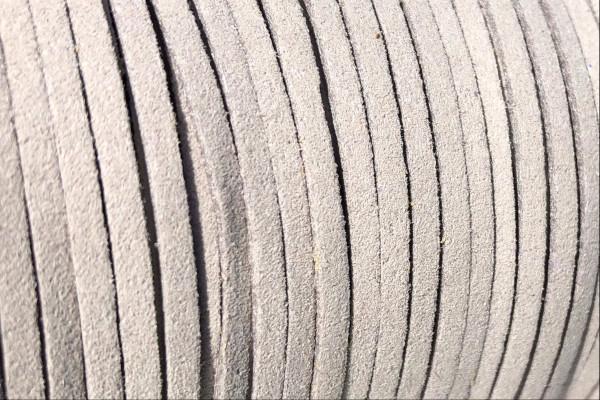 Veloursband in Wildlederoptik, flach, hellgrau, ca. 3x1.4mm