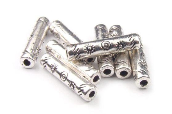 Metallperlen, Stäbchen, versilbert, 18x4mm