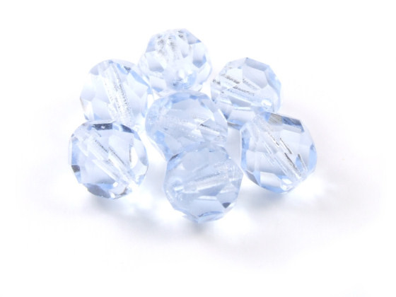 Glasschliffperlen, tschechisch, Hellblau, 8mm