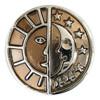 Druckknopf, Sonne und Mond, braun-Töne, ca. 20mm