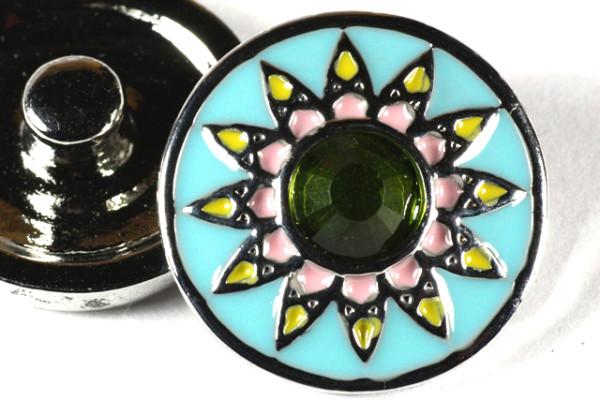 Click-Button, Blume mit Strass, türkis/rosa/grün, ca.20mm