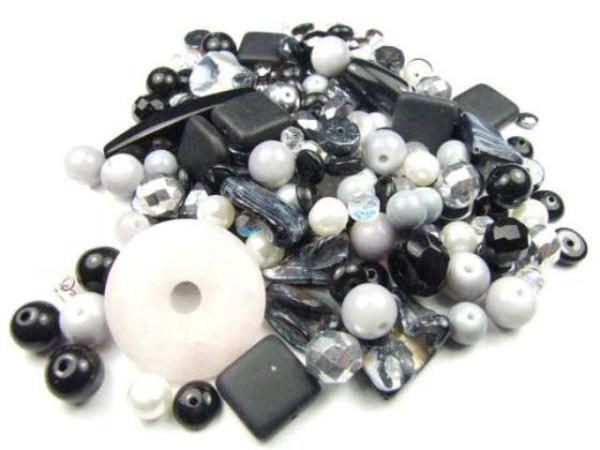 Konvolut, Perlenmischung, schwarz-grau