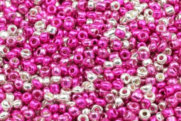 Rocailles, Mix, Pink-Silberfarben, 2mm