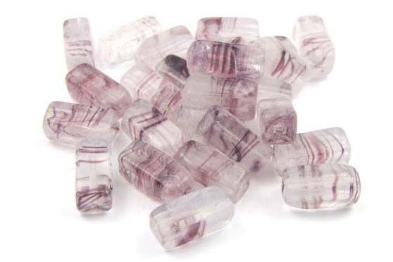 Glasperlen, Rechtecke, lila marmoriert, 12x5mm