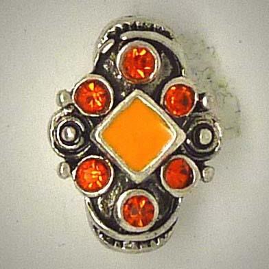 Mini Druckknopf, oval, orange Strasssteine, ca. 16mm