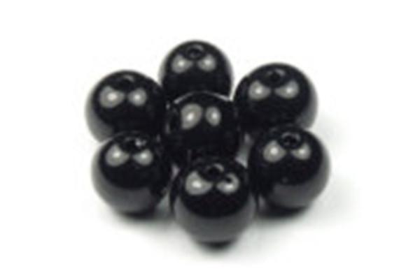 Glasperlen, rund, schwarz, 8mm