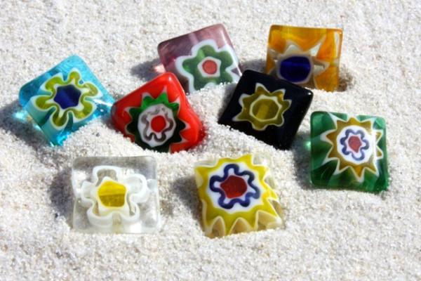 Millefiori, Quadrat, Blumenmuster, bunt gemischt, 10x10mm