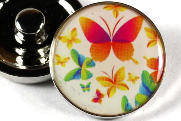 Druckknopf, bunte Schmetterlinge, 20mm