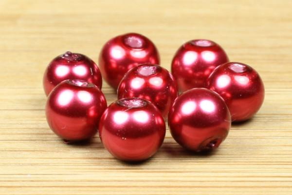 Glaswachsperlen, Crimsonrot, 6mm