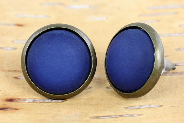 Ohrstecker, bronzefarben, Polaris Cabochon, dunkelblau, 12mm