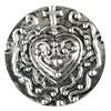 Click-Button, Herz mit Kreuz, silberfarben, 20mm