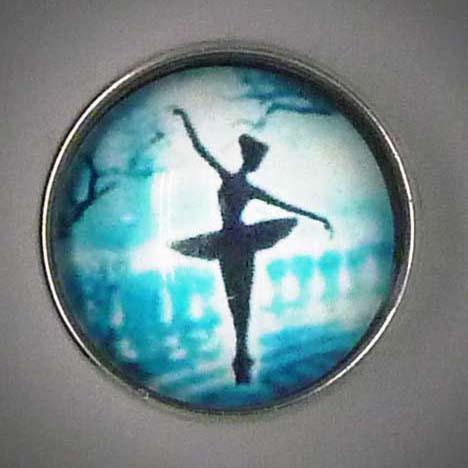 Druckknopf, Ballerina, schwarz/weiß/blau, ca. 18mm