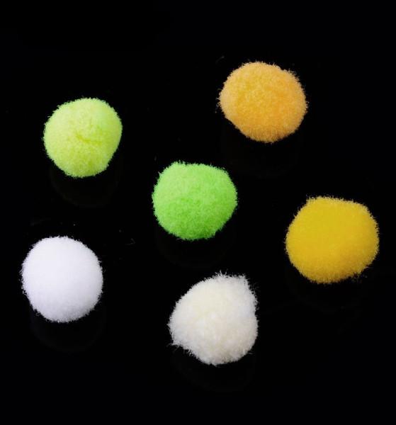 Minipompons, rund, gelb/grün, ca. 10mm