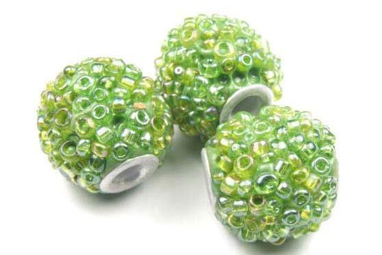 Kashmiri Perle, Kugel, grün, 13.5mm