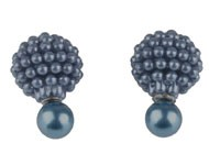 Doppel Perlen Ohrstecker, Violettblau, Perlen 15 und 8mm