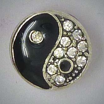 Mini Druckknopf, Yin und Yang mit Strass, ca. 13mm