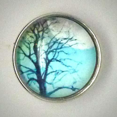 Druckknopf, Baum im Winter, blau, ca. 18mm