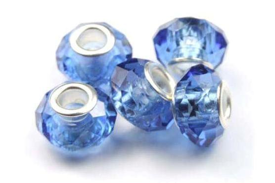 Modulperlen, royalblau, facettiert, Kristallglas, 14x8mm
