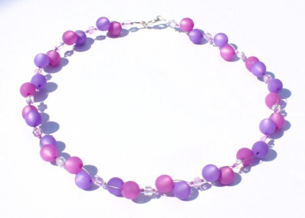 Halskette, Polarisperlen, violett-amethyst
