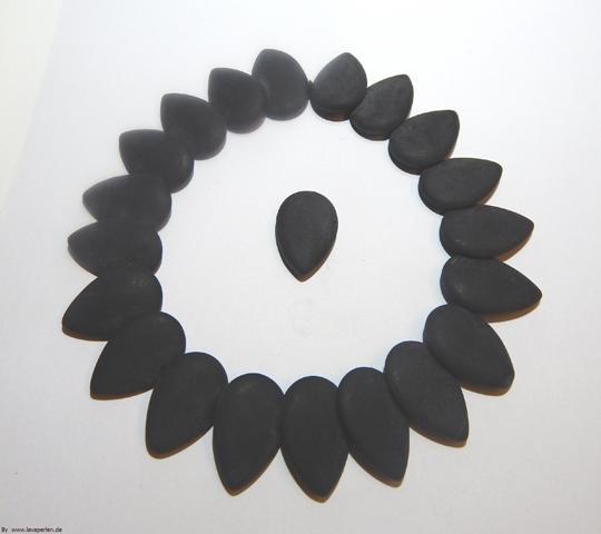 Lava Tropfen, glatte Oberfläche, schwarz, 29x20x6mm