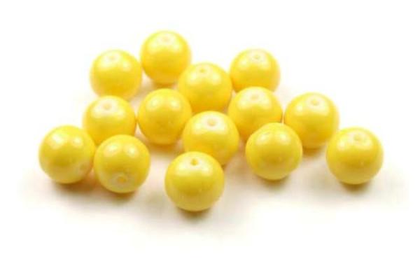 Glasperlen, opak gelb, 8mm