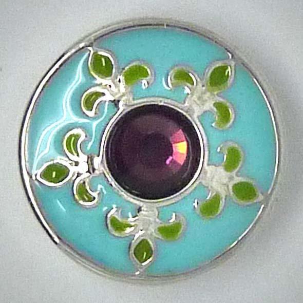 Clicks, Blume mit Strass, türkis/lila/grün/silberfarben, 20mm