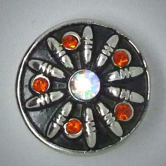 Druckknopf, oranger Strass, 20mm
