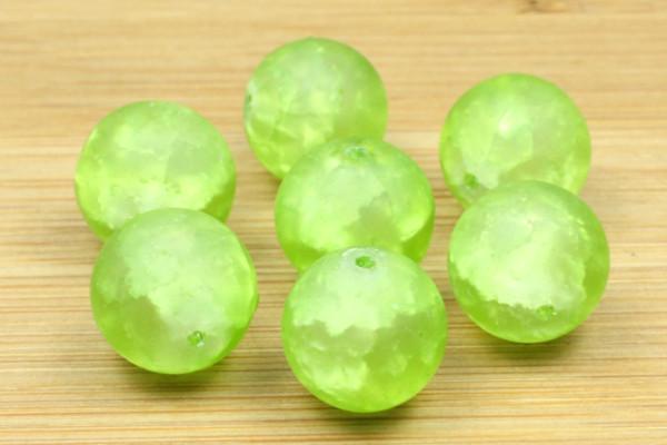 Glasperlen, grün marmoriert, 12mm