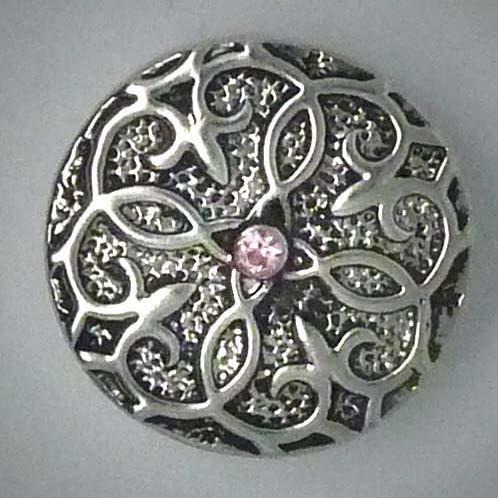 Druckknopf, Antik, rosa Glasstein, ca. 20mm