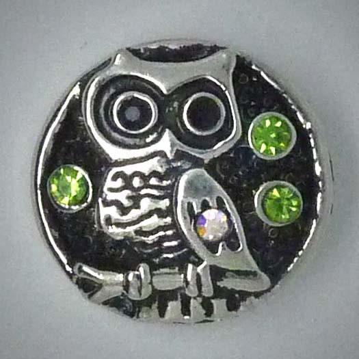 Druckknopf, Eule, Strass grün, ca. 20mm