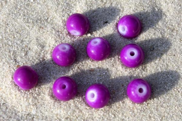 Glasperlen, opak lila, 6mm