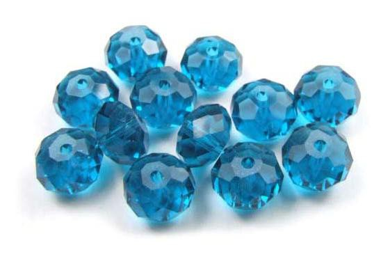 Kristallperlen, Rondelle, aqua, 6x8mm