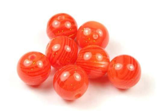 Acrylperlen, rund, orange marmoriert, 10mm