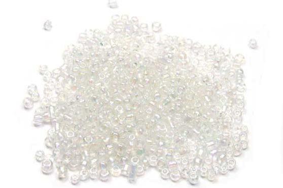Rocailles, rund, transparent AB, 2mm