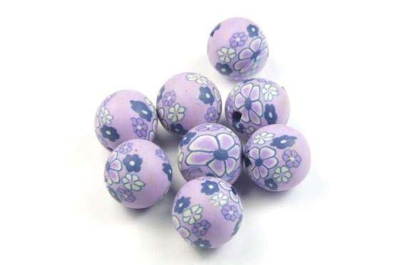 Fimo-Ton Perlen, lila, 10mm