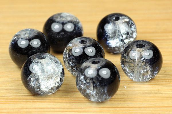 Crashperlen, rund, schwarz-weiß, 8mm