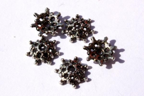 Perlkappen, Sternform, versilbert, 8mm